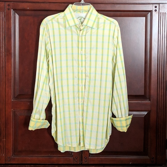 Bugatchi Other - Bugatchi Yellow and Green Striped Button Down L